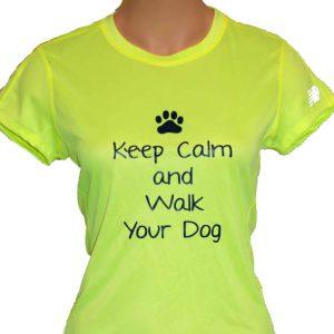 Ladies Navy Blue Tshirt - Keep Calm and Walk Your Dog