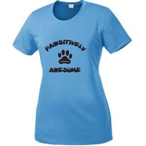 Ladies Carolina Blue T-shirt Pawsitively Awesome