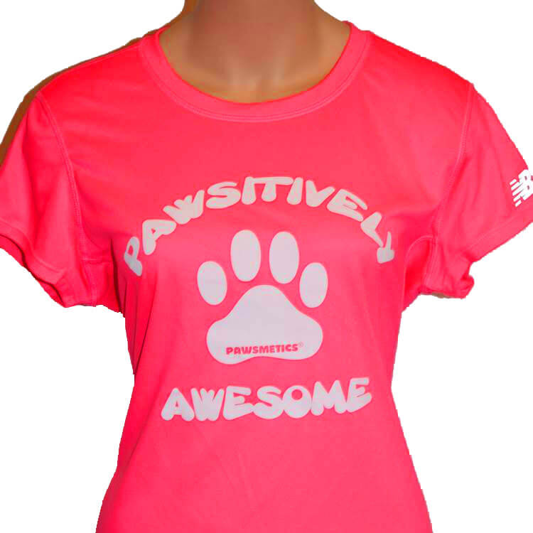 T-shirt Pawsitively Awesome Pink