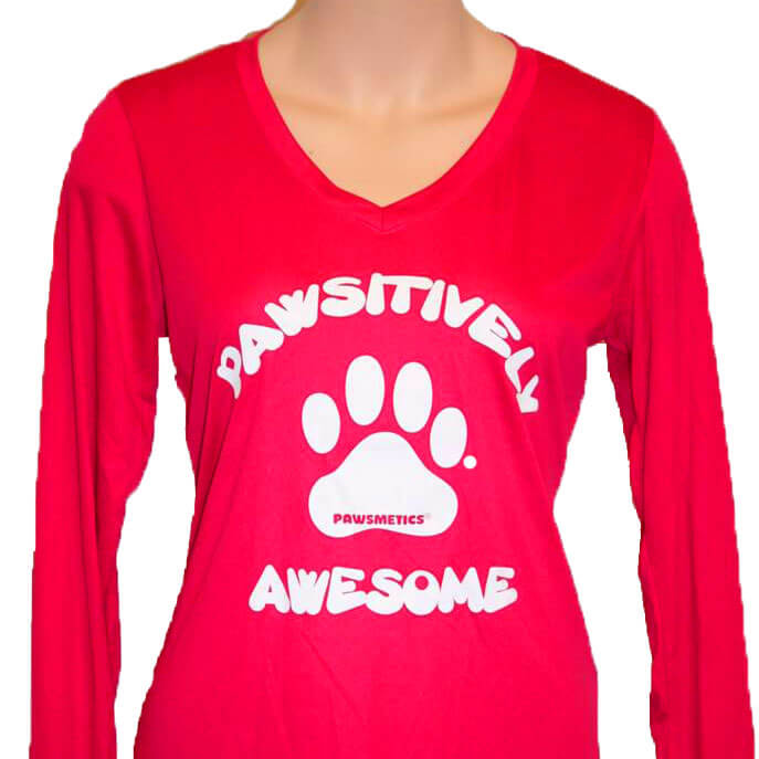9bfa1ae4580c Ladies Raspberry Long Sleeve T-Shirt - Pawsitively Awesome